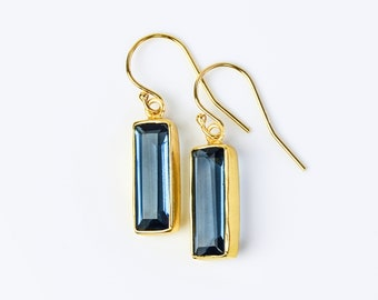 Adira Kyanite Bar Drop Earrings, Gold Dangle Earrings, September Birthstone Jewelry Statement Gemstone Bar Earrings Unique vertical bar