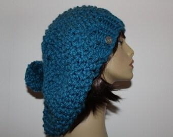 Chunky Knit Hat, Boho Slouchy, Turquoise Blue Hat, Slouchy Beanie, Chunky Knit Toque, Carlyle Knit Slouchy, Pom Pom Knit Hat, Knit Blue Hat