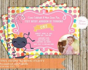 Itsy Bitsy Spider Birthday Invitation for Girl 1st Birthday First Birthday Invites Digital Printable