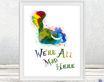 Disney Alice in Wonderland Cheshire art - Watercolor Art Kids  - Disney Alice in Wonderland Cheshire -nursery painting