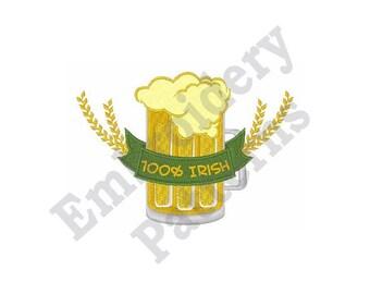 100% Irish Beer - Machine Embroidery Design