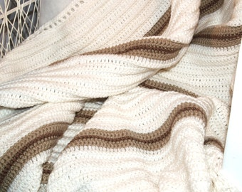 Ivory White Afghan, Crocheted, Twin, Throw, Blanket, Ivory, Off White, Neutral, Khaki, Brown, Tan, Stripes, PERSONAL AFGHAN, Ready To Ship