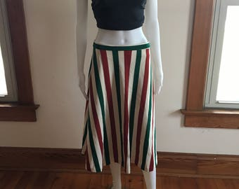 Vintage Green,Red,Beige striped A-line midi-calf skirt