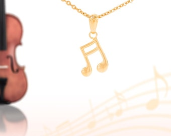 Music Notes charm, 14k solid yellow gold