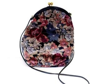 Cute Little Velvet Floral Satchel/Purse/Crossbody Bag