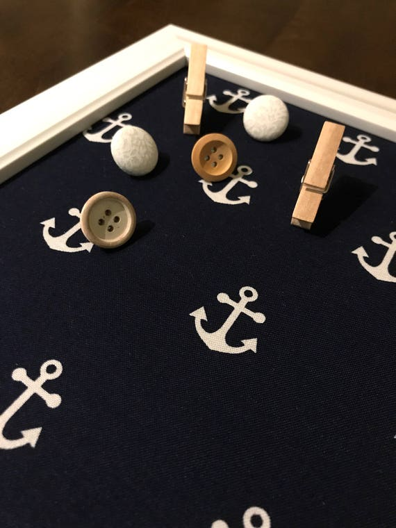 15 X 15 Framed Navy Blue and White Anchor Fabric Corkboard