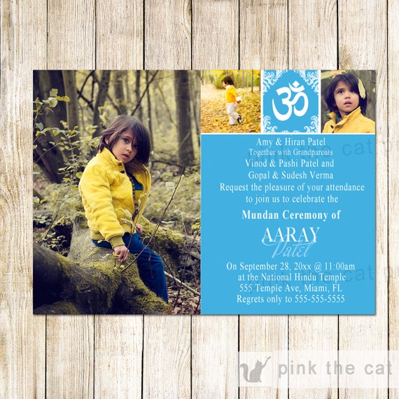 Mundan Ceremony Invitation Blue With Photos Printable File
