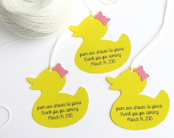 Rubber duck baby shower favor tags, Girl baby shower thank you tags, Rubber duck baby shower gift tags, from our shower to yours