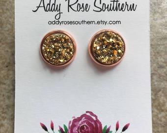 12mm gold druzy earrings in rose gold, druzy studs, druzy earrings, rose gold studs, rose gold druzy, rose gold earrings