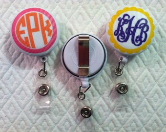 Treat yourself to a monogrammed badge reel id holder badge monogrammed badge reel id holder badge pull belt clip students nurses doctors corporate solutioingenieria Image collections