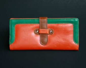 Womens Wallet, Leather Wallet, Orange Wallet, Orange Purse, Orange Leather Purse, Orange Leather Wallet.