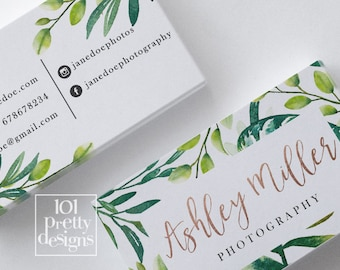 Floral business card design printable business card botanical floral business card design printable business card botanical business floral business card rose gold green leaves wild nature makeup artist reheart Image collections