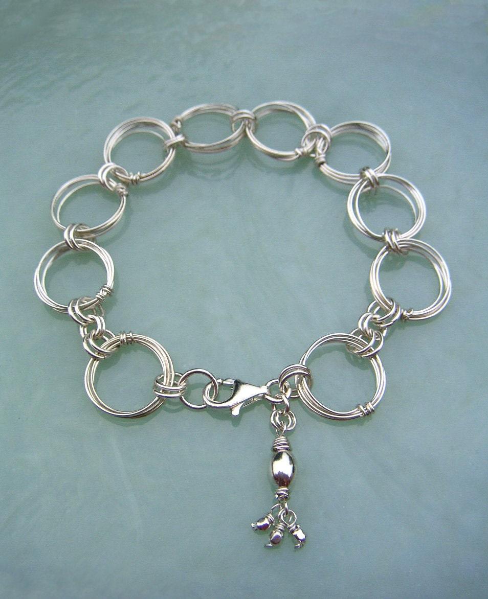 Silber Kreise Armband Silber Ringe Armband Draht großen Link