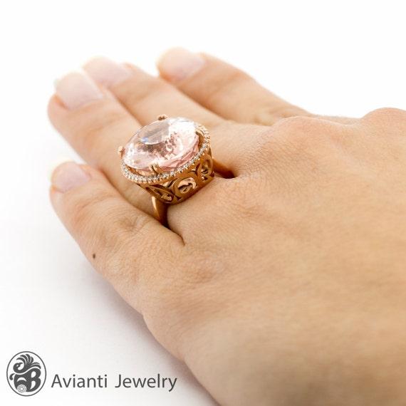 Morganite Engagement Ring 20 Carat Morganite Ring Morganite