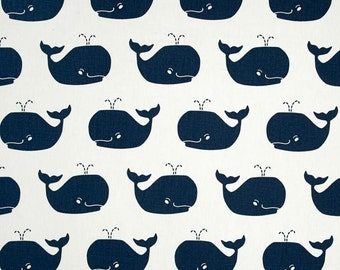 Premier Prints Cotton Twill Fabric, White with Navy Whale Fabric, Whale Tales Twill Navy