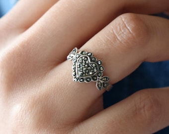Sterling Marcasite Heart Ring - Size 6.5 Ring For Her - Silver Heart Ring