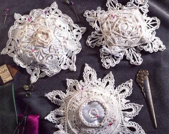 Pincushion Snowflakes from Annie's Attic