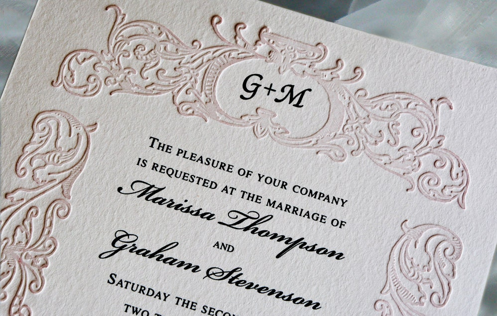 Blush Pink Wedding Invitation Suite Monogrammed Letterpress Wedding