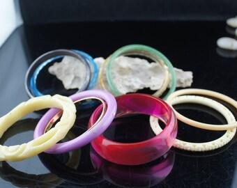 Vintage Art Deco Bangles Ring  Bracelet  Set of 10 Vintage multicolor,plastic  Gift for Her /  Stamping Wide Narrow bangle dress cc209