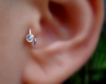 Tragus Earring - Nose Hoop - Helix Earring - Cartilage Earring - Sterling Silver  3mm Zircon Tragus Ring - 7mm Inner Diameter Hoop