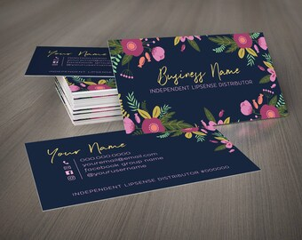 Navy Floral Business Card Template