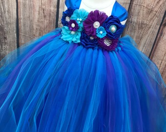 Royal blue, turquoise and purple girls flower girl dress, tulle flower girl dress, spring wedding, girls tulle dress