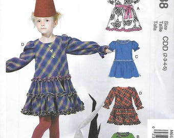 DARLING Dress Pattern with 4 Variations by McCall's 6638 Size 2-3-4-5