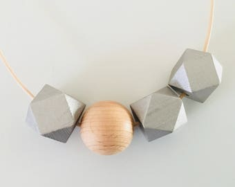 Silver Geometric Necklace - Wooden Beads