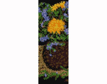 Flowers in Vase #6 Peyote Bead Pattern, Bracelet Cuff, Bookmark, Seed Beading Pattern Miyuki Delica Size 11 Beads - PDF Instant Download
