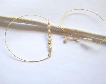 Bracelet or et perles de culture d'eau douce-bijou mariage-bracelet infini-bracelet barre-bracelet jonc fin-cadeau demoiselle d'honneur