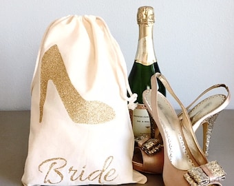 Wedding Shoes Bag Bridal Party Gifts Personalized Glitter Shoes Gift Bag