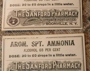 The Sanford pharmacy label 1920