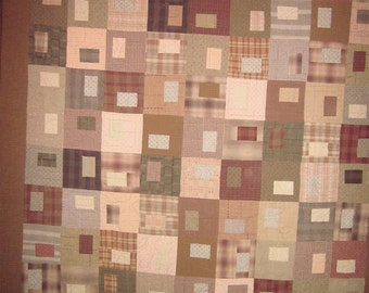 Patchwork Quilt - brown and pink Japanese Taupe Gems