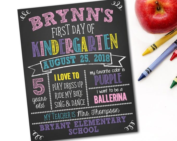 First Day Of School Sign, Back To School Sign, Chalkboard School Sign, 1st Day Of School Sign, Photo Prop, DIY Printable