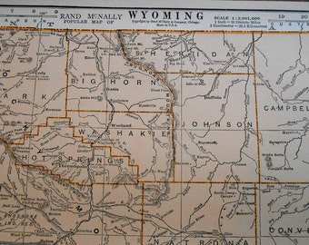 Vintage Wyoming Map, 1930s antique US State map, old atlas map for wall art