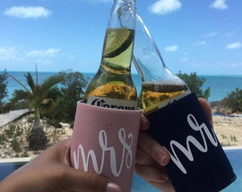 Mr and Mrs Can Cooler Set, Mr and Mrs Gift, Engagement Gift, Honeymoom Gift, Honeymoom Beer Holders, Honeymoon Can Coolers