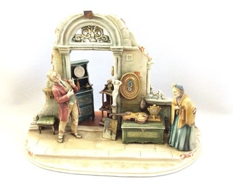 Rare Vintage Italian Capodimonte Porcelain Figurine Antique shop by Borsato