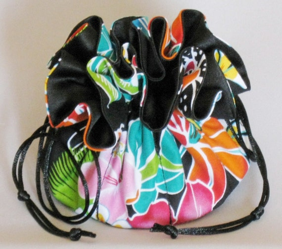 Jewelry Travel Tote---Hawaiian Floral Design---Drawstring Organizer Pouch---Regular Size