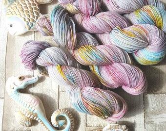 Sock Yarn, Hand dyed superwash sock yarn, sock yarn, merino and nylon sock yarn, purple sock yarn, speckled sock yarn, Sea Moss Colourway.