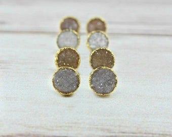Druzy Stud Earrings, Druzy Earrings, Druzy Studs, Gold Earrings, Raw Crystal Earrings, Dainty Earrings, Tiny Stud Earrings, Tiny Studs,stone