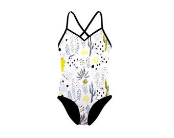 White Cactus Floral One Piece Swimsuit - Floral Swimsuit - One Piece Swimsuit - Eco Swimwear - Slow Fashion - Thief&Bandit®