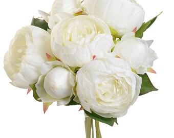 "New Silk antique white PEONY BOUQUET x7, 12"", Antique White Silk Flowers, Antique White Peony Bouquet, Artificial Bridal Flowers"