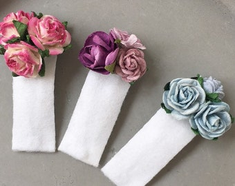 White snap hair clips set of 3 Petites / Baby and girls dusty pink faux leather lined pastel blue lilac purple mulberry paper rose flowers