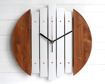 Futuristic Industrial Wall Clock, Wood and Metal Clock, Modern Wall Decor, Authentic Designer Clock, Aircraft Inspired, Unique Gift
