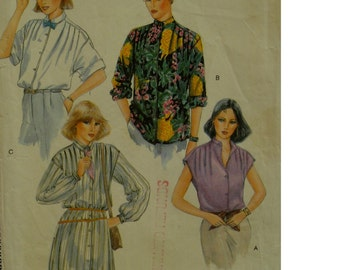 """Shoulder Tuck Blouse Pattern, Long/Cap Sleeves, Band Neck, Collar, Long Tunic, Vogue No. 7304 Size 10 (Bust 32.5""""83cm)"""