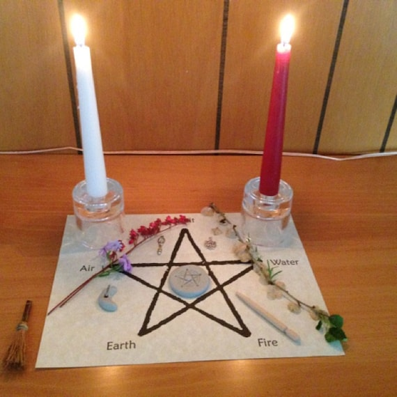Wiccan Wedding Altar: Items Similar To Pentagram Wiccan Altar Mat Or Wall Art