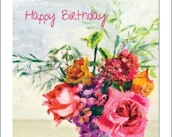 Roses and Wallflowers - Floral Greeting Card - Fine Art Happy Birthday Card - Blank inside