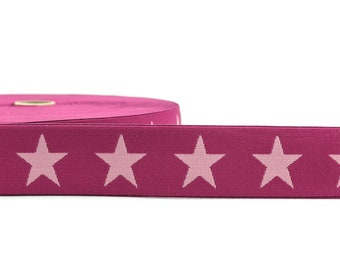 1 m Rubber band star-40 mm wide-pink-pink