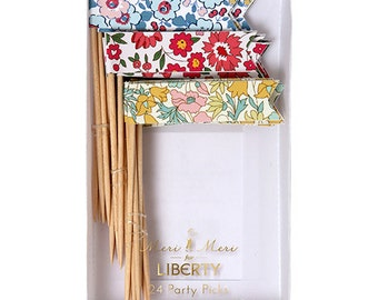 Meri Meri Liberty Party Picks - Add the Perfect Touch of Color To Your Next Party with this set of 24 Floral Party Picks!
