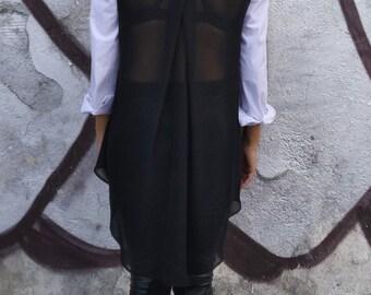 Asymmetrical White Tunic Top/ Long Sleeves Cotton Top/ Casual Top/ Shirt chiffon back